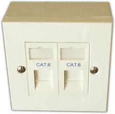 Cat6 2 Way Data Network Outlet Kit, Faceplate, Modules, Backbox. LAN Ethernet