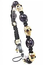 Mens Womens Crystal Purple Agate Beaded Shamballa Skull Bracelet #6