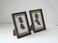 Antique French Silhouettes of Moustached Gents 1895 & 1921