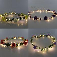 COSOON 4 Pcs LED Flower Wreath Headband - Crown Floral Garland Boho for Festival