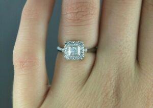 $1,550 14K White Gold Princess Round Single Cut Diamond Cocktail Ring Size 5