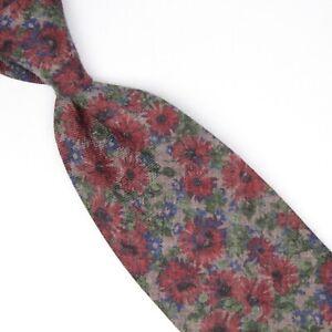 Josiah France Mens Wool Necktie Gray Burgundy Green Floral Print Tie Italy