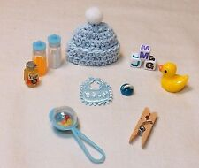 12 PC DOLLHOUSE BABY ESSENTIALS FOR BOY  PLAYSCALE BARBIE SIZE