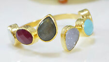 Ottoman Gems semi precious stone gold bracelet  bangle Labradorite Turquoise