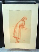 Woman Gazing Over Balcony Original Red Pencil 1950 by C. Schattauer Kelm