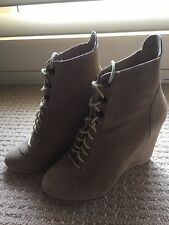 New Suede Beige Wedge Lace Up Boot Work/Going Out Size 6