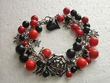 *Stainless Steel Charm Bracelet Halloween Spider Web Red Black Czech Glass Beads