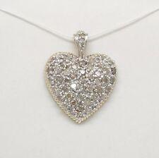 10K Two-Tone Gold +/- 1/2 CT TW Diamond Cluster Heart Pendant