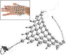 Hand Bracelet Chain Bangle Hipple Boho Finger Ring Harness Ladies Gift Silver