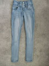 Almost Famous Faded Jeans Women's Junior Skinny Size 3, Low Rise, Triple Button