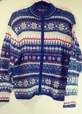 HEIRLOOM COLLECTIBLES Sweater Womens Size M Full Zip Blue White Cotton Blend