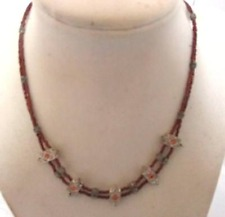 Seed Beads Silver Accent Amber Stones Vintage 1970s Choker Necklace Dark Amber