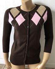 CHEROKEE Womens Size Small Argyle 3/4 Sleeve Light Weight Cardigan Sweater NWT