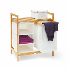 Wäschesammler Bambus Wäschekorb natur mit Ablage Wäschebehälter LINEA Regalfach