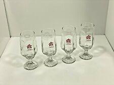 """VTG Adolph C COORS 12 oz. 7"""" Rippled Textured Panels Set 4 Stemmed Beer Goblets"""