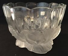 Clear Glass Rose Bowl with Embossed Frosted Glass Roses