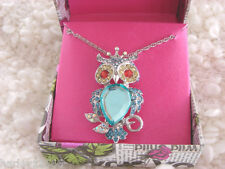BETSEY JOHNSON GIFTING OWL NECKLACE/PIN NWT SO PRETTY!! MAJOR BLING!! 2 IN 1!!