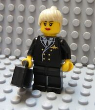 Lego Minifig Female AIRLINE PILOT w/Blond Hair,Black Uniform City Town Airplane