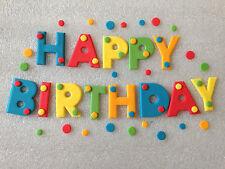 Edible fondant icing 'HAPPY BIRTHDAY' - cake topper multi coloured