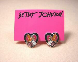 New Betsey Johnson Flying Bird from Flower Love Heart Shape Stud Earrings