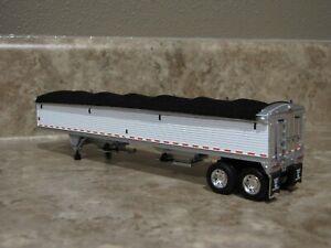 DCP 1/64 Wilson Black Tarp White Sides Hopper Bottom Grain Trailer Farm Toy