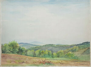 Rudolf Sieck. 1877 – 1957 Aquarell Weite Landschaft im Chiemgau 50 x 58 cm. Sig.