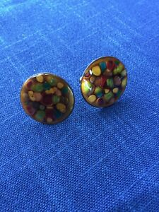Vintage Modernist Enamel Over Copper Cuff Links. 1960's. Great Condition