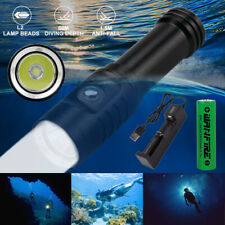 Underwater  LED Scuba Flashlight 80 Meters Submersible Lights Torch