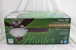 "Hunter 54"" Park Hill Brushed Nickel Ceiling Fan w/Remote Model 20578 NEW"