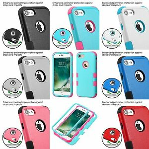 For iPhone 7 / 8 - HARD&SOFT Rubber Hybrid Dual Layer Armor Skin Case Cover Tuff