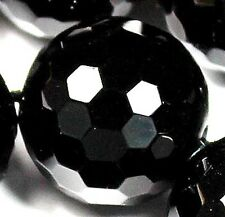 14mm Faceted Black Agate Round Loose Beads 14pcs