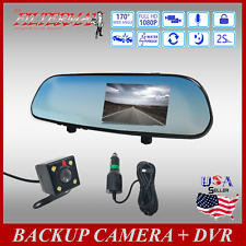 Camera Hd 1080p Dash Backup Full Car Cam Rearview Mirror New Sd Card compatible