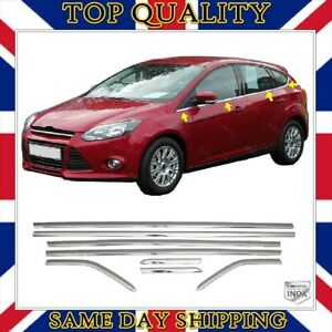Chrome Windows Frame Trim 8 pcs S.STEEL For Ford Focus 3 III Mk3 HB 2010 to 2018
