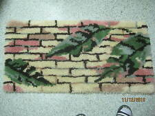 Vintage Latch Hook Rug retro 50's Brick wall with Leaves