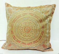 "Indian Mandala Ethnic Banarasi Cushion Cover Covers 16x16"" Faux Silk Grey Sofa"