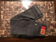 Levi's 514 Straight Leg Dark Grey Corduroy Pants Jeans Size 36x29