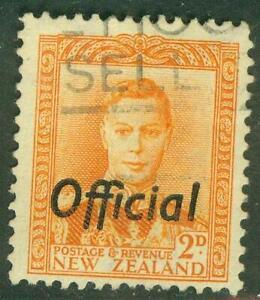 New Zealand. 1947. GVI. 2d. Yellow. Official.  BOB. U.