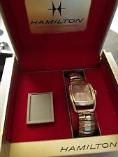 VINTAGE 1950's HAMILTON MENS ROSE DIAL 10k Gold Filled WATCH w/ Display Case