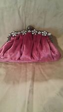 Cargo Pink Velvet & Rhinestone clutch purse or makeup  bag