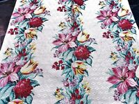 30's Cottage Summer Garden Barkcloth Vintage Fabric Drape Curtain DIY 4 Avail.