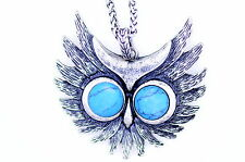 Vintage turquoise eye silver owl head charm necklace