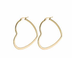 Women's Silver Stainless Steel Hollow Heart Shape Large Hoop Earrings 1 Pair