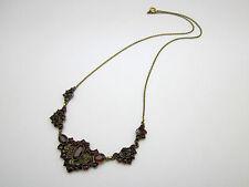 Schöne antike Granat Collier Kette Halskette, Tomback Schmuck um 1900, punziert