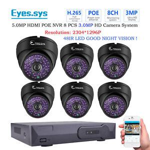 Eyes.sys H.265 6pcs 3MP HD 48LEDs CCTV DOME Camera Net POE NVR Security System