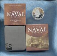2010 $1 Battle of Trafalgar 1805 FAMOUS NAVAL BATTLES SILVER PROOF COIN War