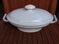 FURNIVAL ANTIQUE 1800s ENGLISH WHITE IRONSTONE STONEWARE COVERED VEGETABLE DISH