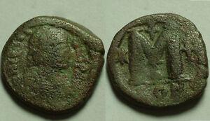 Rare Genuine ancient Byzantine coin Justin I AE follis 518-527 AD Constantinople