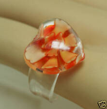 Unique Large 3D Peach Rose Glass Heart Domed Cocktail Ring Size 7.5 8 8 1/2 9