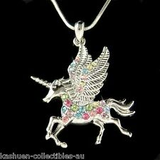 Rainbow w Swarovski Crystal Pegasus Horn UNICORN Fairy Pendant Necklace Xmas New