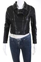 Blank NYC Womens Faux Leather Cropped Studded Moto Jacket Black Size Large